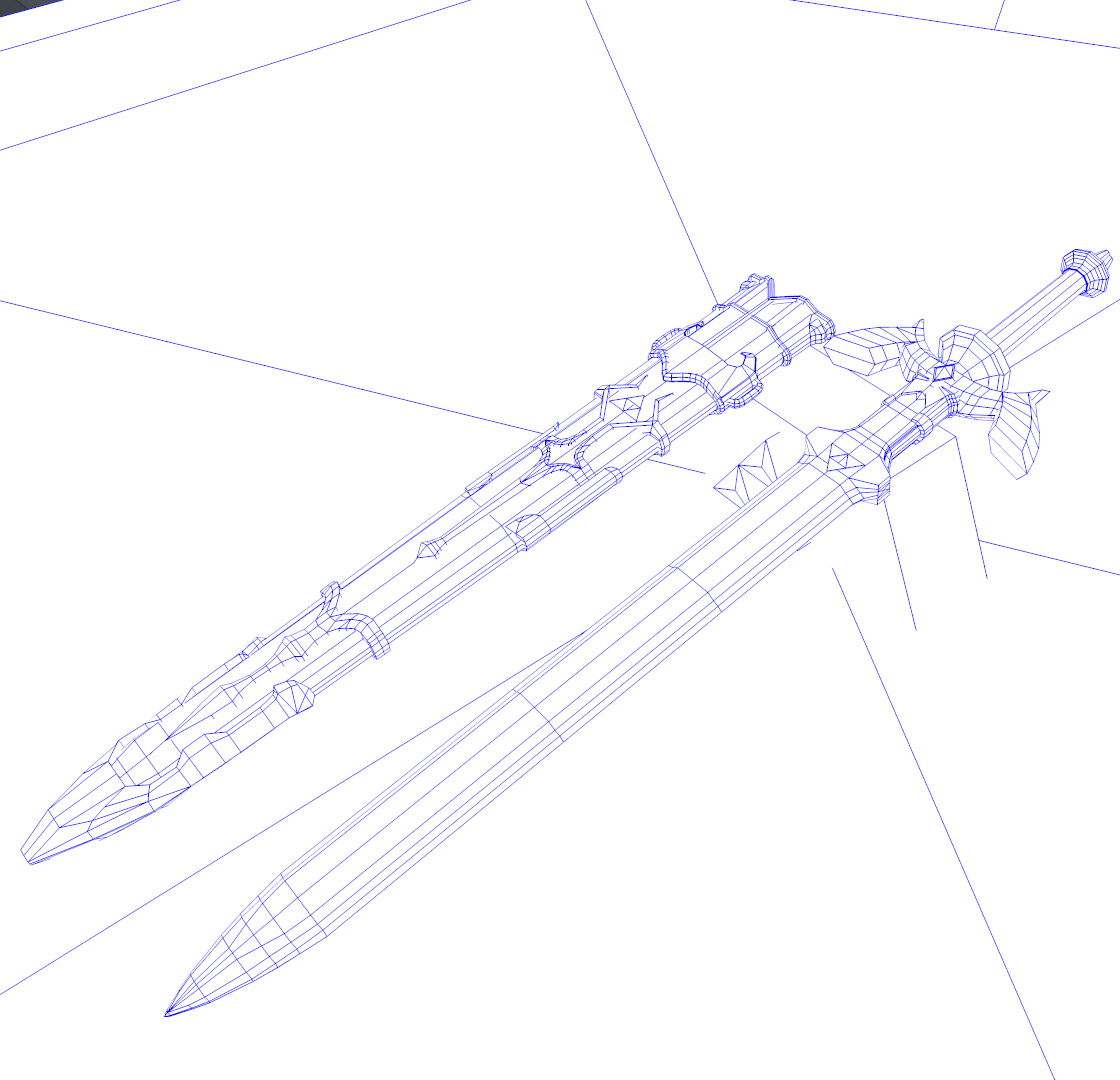 Master Sword and Scabbard Close Up wiref