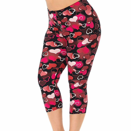 Cute Hearts Capri Super Stretch Leggings
