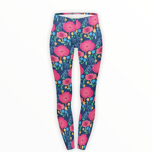 Pink Poppies Superstretch Leggings