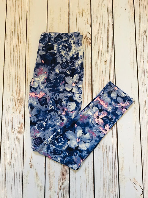 Indigo Floral Full Length Super Stretch Leggings (Wide Waistband)