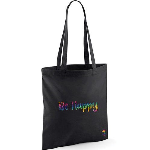 BE HAPPY RAINBOW SPARKLE TOTE BAG