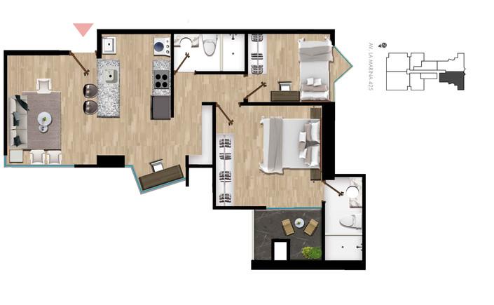 2 Dormitorio | 2 Baño 52.33 m2 área techada + 4.11 de terraza