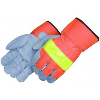 HI-Viz Leather Palm Gloves