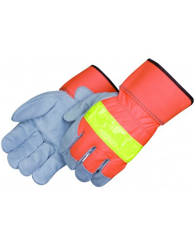 HI-Viz Leather Palm Gloves