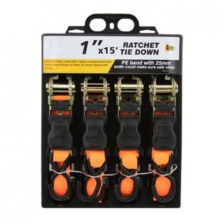 """1"""" x 15' Ratchet Tie Down – 4 pk"""