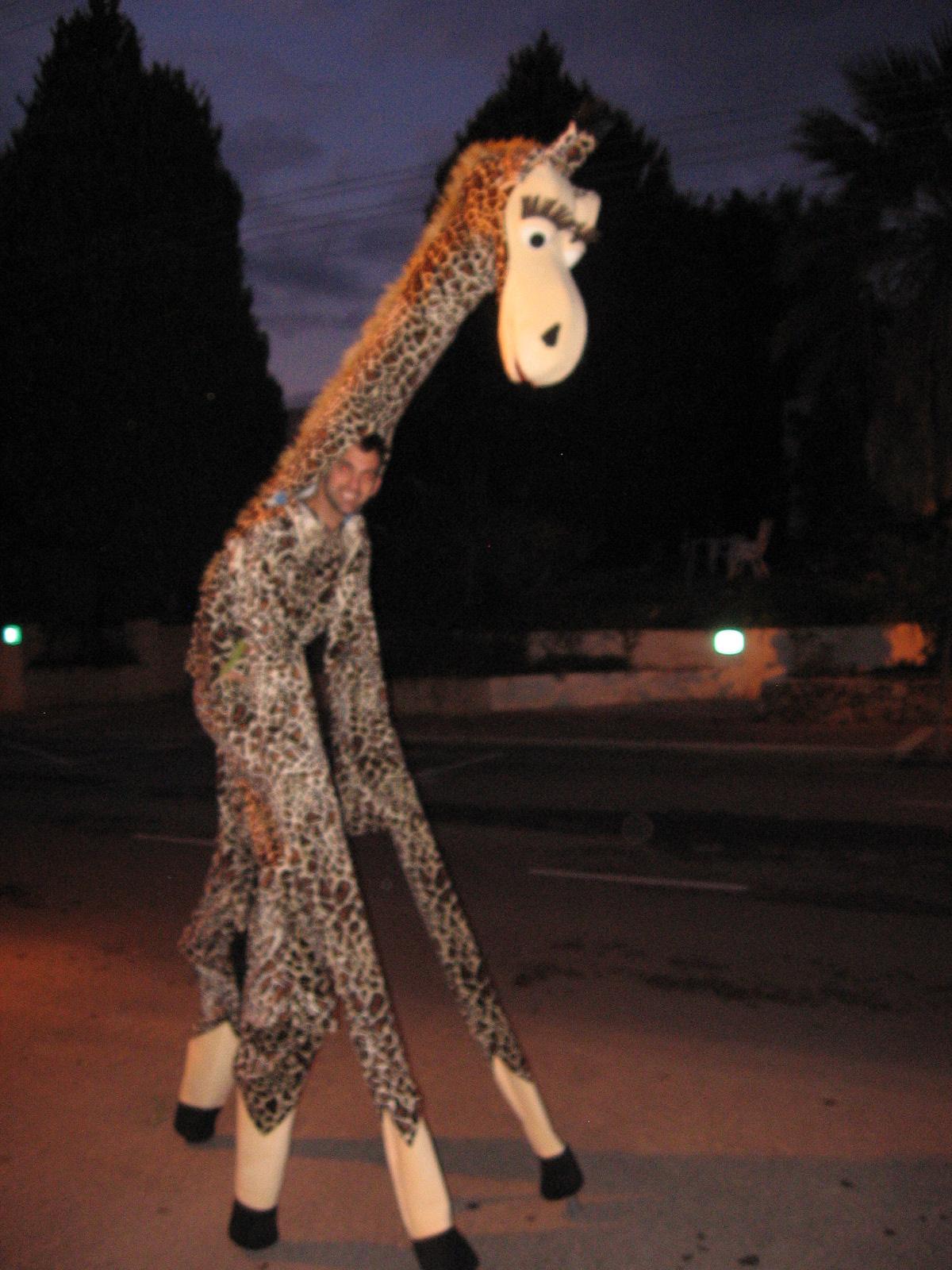 Puppet giraffe on stilts