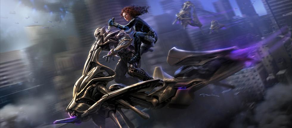 """ Black Widow (Scarlett Johansson) riding Chitauri Soldier"" by Andy Park"