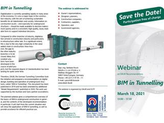 18th March - WEBINAR - BIM in Tunnelling - INVITATION
