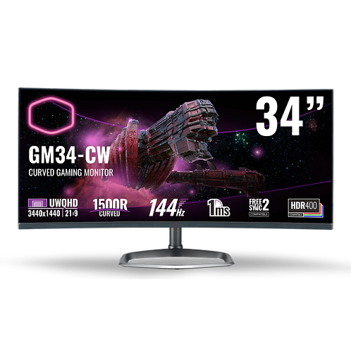 "Cooler Master GM34CW 34"" UWQHD 3440 x 1440 144 Hz Quantum Dot Gaming Monitor"
