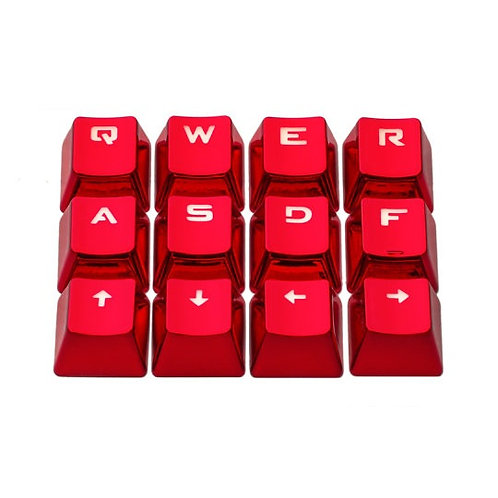 12 Keys Red or Blue or Silver Metal Transparent keycaps