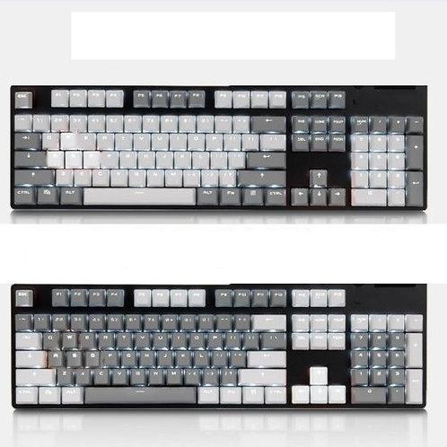 104 Keys White Grey ABS Transparent keycaps