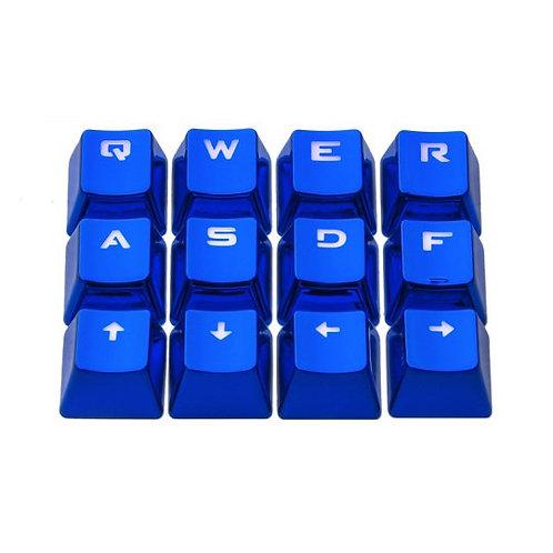 12 Keys Blue or Silver Metal Transparent keycaps
