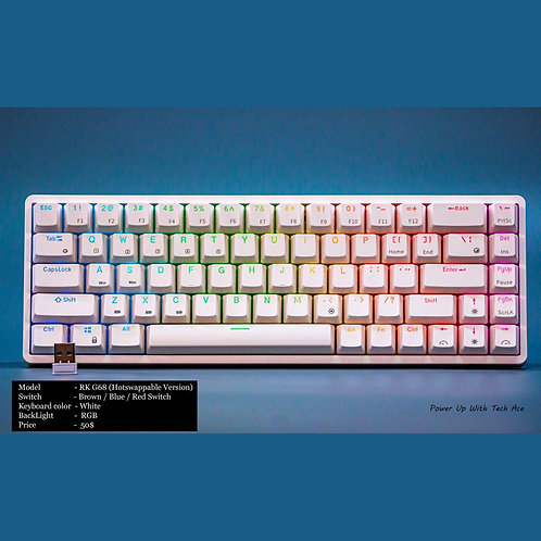 RK G68 Mechanical Keyboard White (Hot-swappable Blue , Red or Brown Switch)