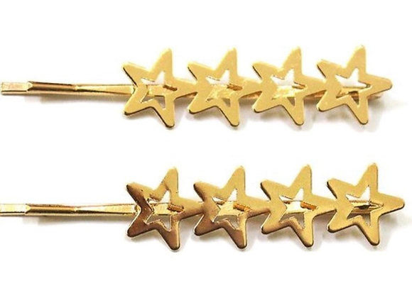 Linked star charm hair pin