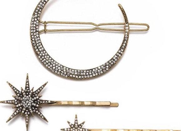 Rhinestone Moon & Star Hairpin
