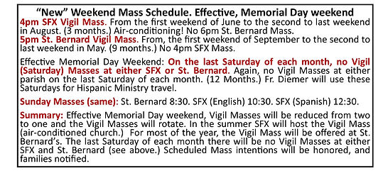 May 2, 2021 Mass schedule for the websit