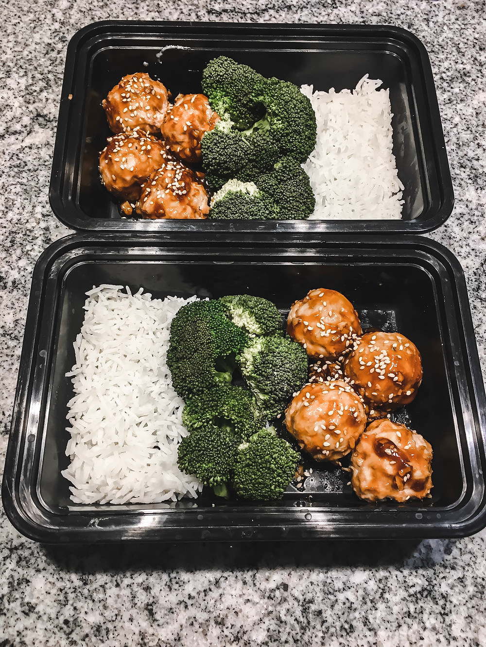 Asian turkey meatballs meal prep containers