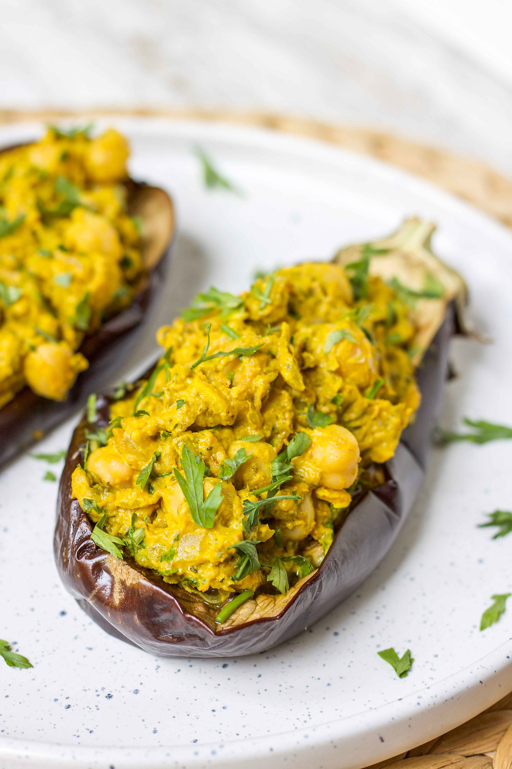 chickpea tahini stuffed eggplants