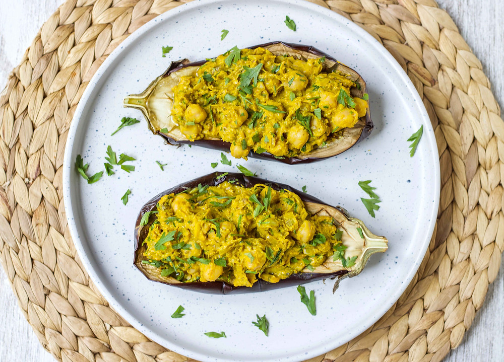 Tahini Chickpea Eggplants Plantbased Recipe