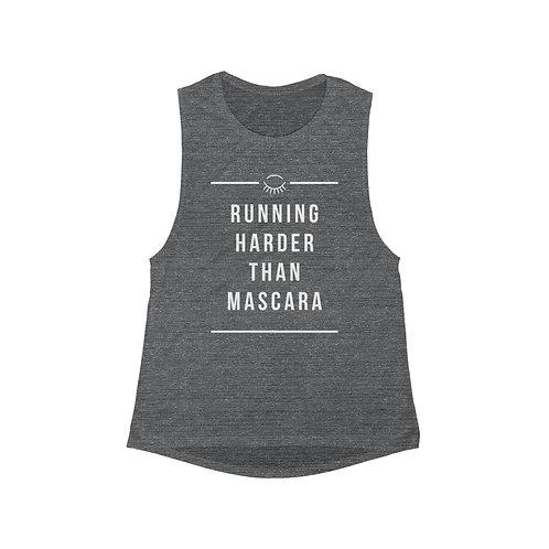 Running Harder Than Mascara - Women's Flowy Scoop Muscle Tank