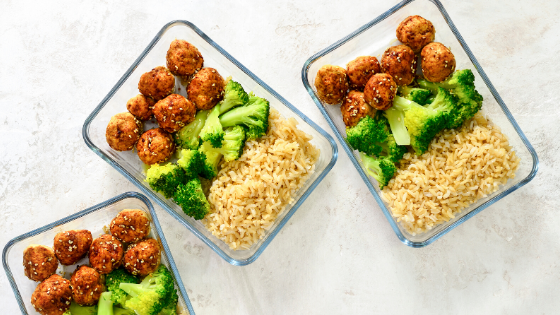 meatball rice and broccoli meal prep