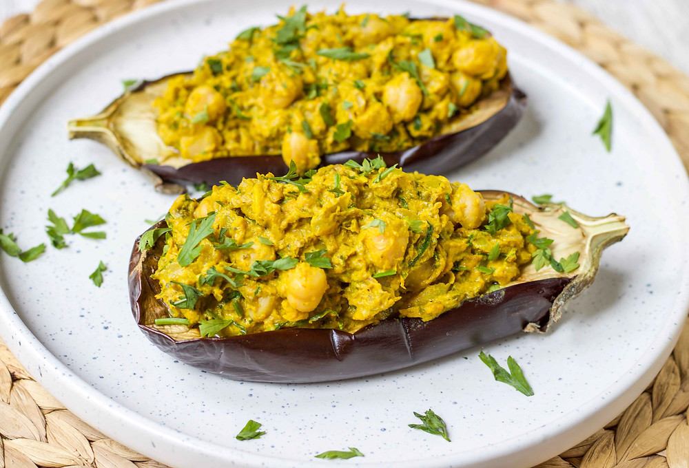 chickpea stuffed eggplants