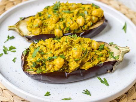 Chickpea & Tahini Stuffed Eggplants Recipe