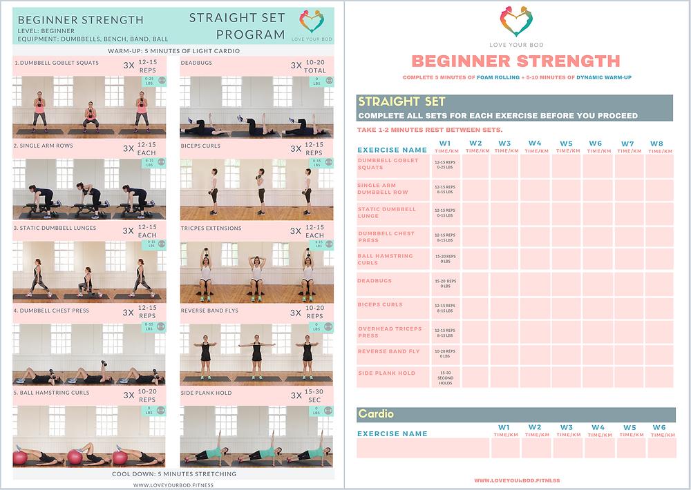 Beginner Strength Training Program Printable PDF