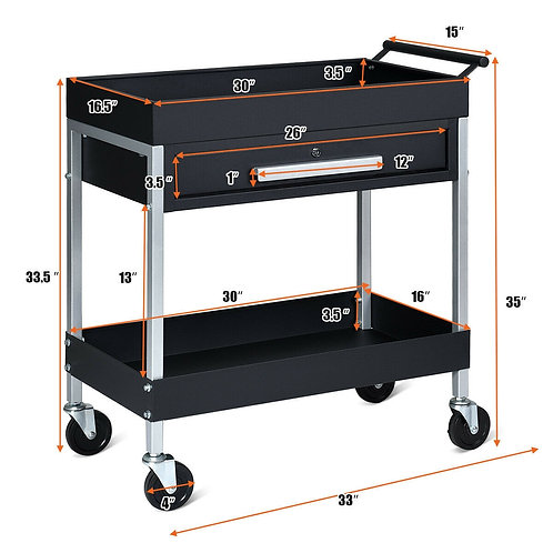 2-Shelf Heavy Duty Tool Cart Service Cart with Lock Drawer & Wheels