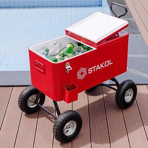 Outdoor 80 Qts Portable Rolling Party Wagon Cooler Cart