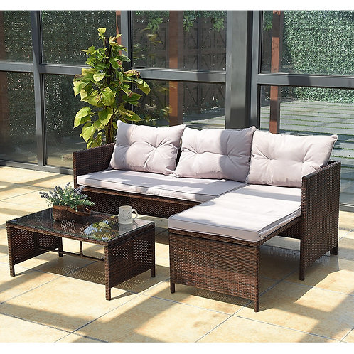3 Pcs Rattan Wicker Deck Couch Outdoor Patio Sofa Set