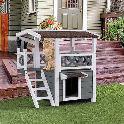 2-Story Outdoor Weatherproof Wooden Cat House
