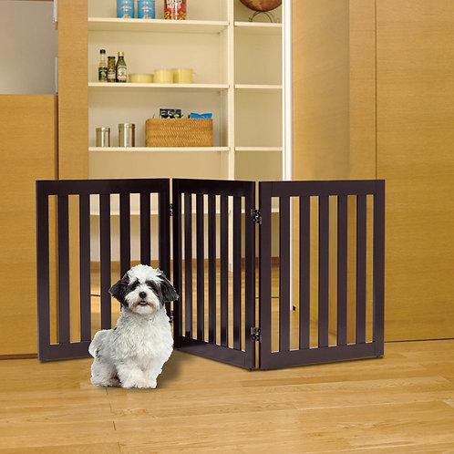"24"" Folding Standing 2/3 Panels Wood Pet Fence"