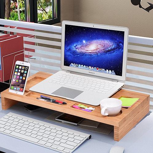 Bamboo Monitor Stand Riser Storage Laptop Desktop