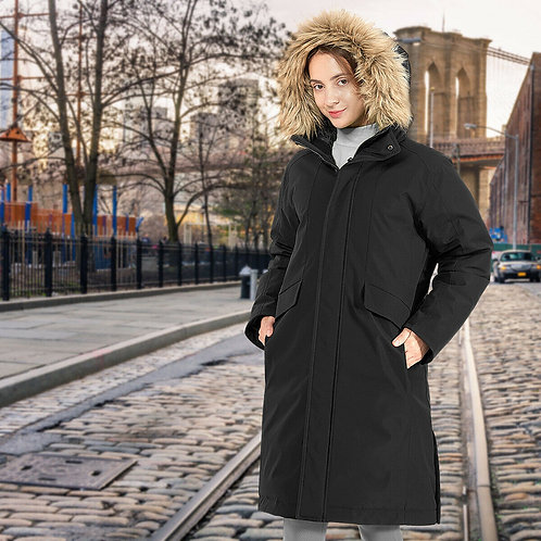 Women's Hooded Long Down Coat (with Faux-fur Trim)