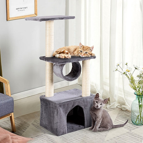 """37"""" Cat Tree Condo Kitten Pet House with Scratch Post"""
