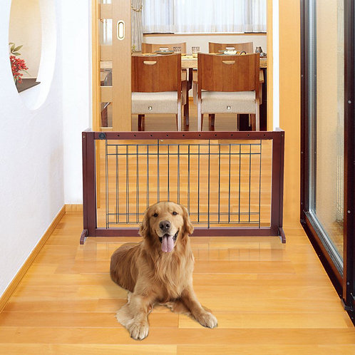 Solid Wood Adjustable Free Stand Dog Gate