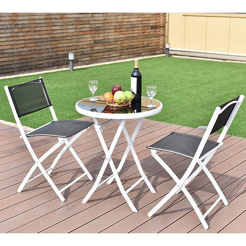 3 Pcs Folding Garden Backyard Patio Table Chairs Set