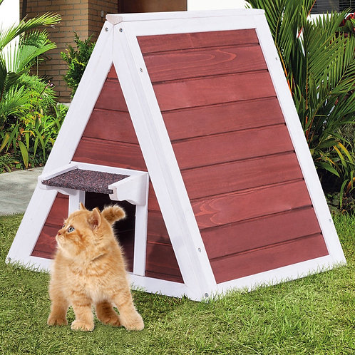 Weatherproof Wooden Cat House Furniture Shelter with Eave