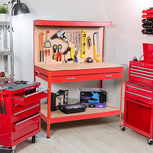 Steel Frame Storage Work Bench with Drawer