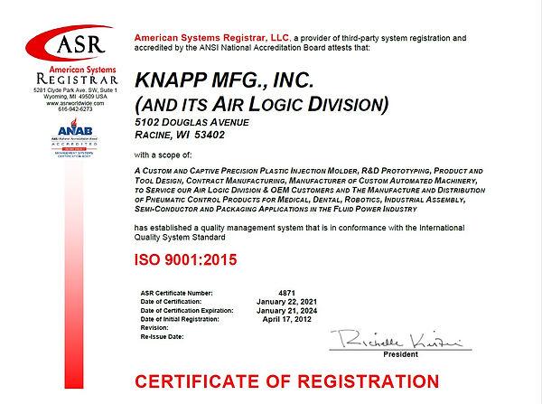 4871 KNAPP MFG ISO 9001 Certificate Jan