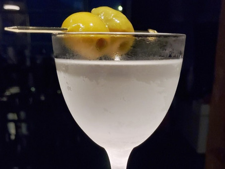 """Dirty Enough"" EVOO Washed Martini"