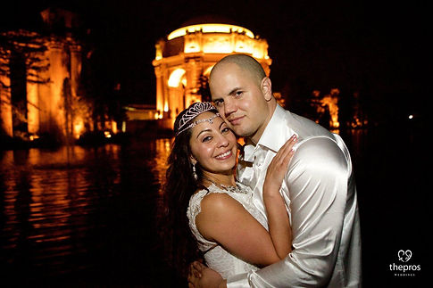 Kate and Kevin end their wedding night with one last photo at the Palace of Fine Arts in San Francisco