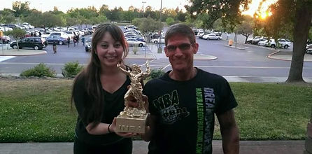 Paul's First Place trophy for the INBA Bodybuilding Competition choreography by Kate Schmad