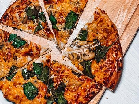 Pizza aux blettes et aux champignons