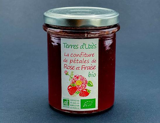 Confiture de pétales de rose et fraises bio - Terres d'Uzès