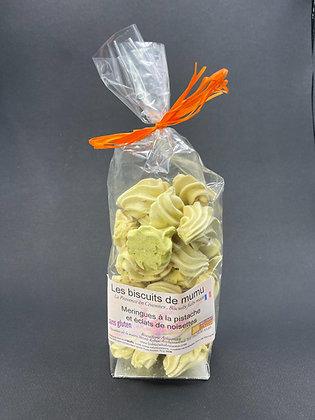 Meringue à la pistache et éclats de noisettes 70g - Les Biscuits de Mumu