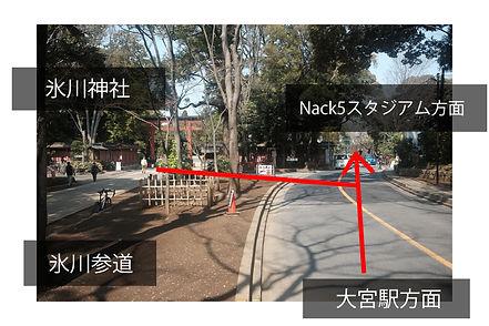 氷川神社を出て左折します。