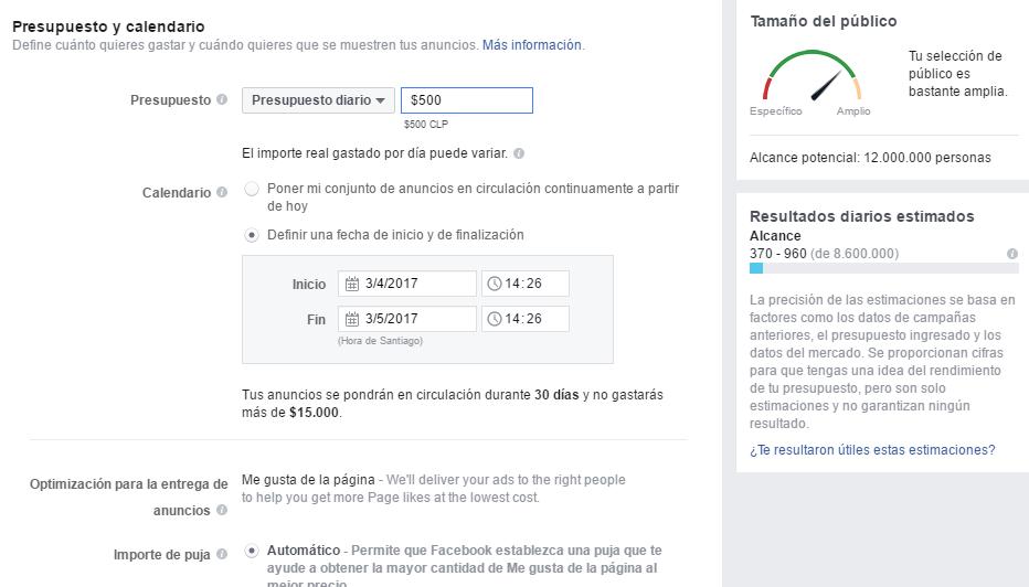 """Paso para Crear un Anuncio y Sumar Seguidores en Facebook N° 3: """"Presupuesto y Calendario"""""""