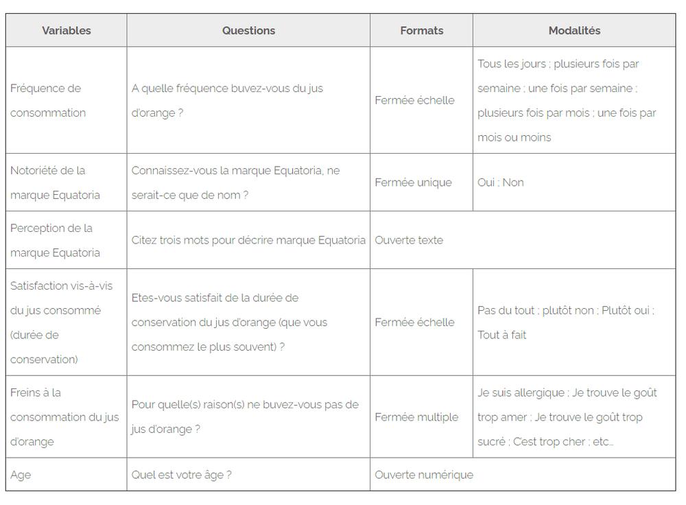 Exemple de questionnaire : Structure et contenu